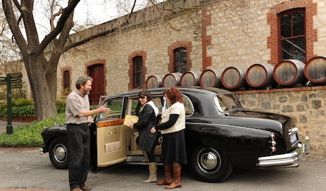 Driver with tourists exit a 1962 Daimler at a winery