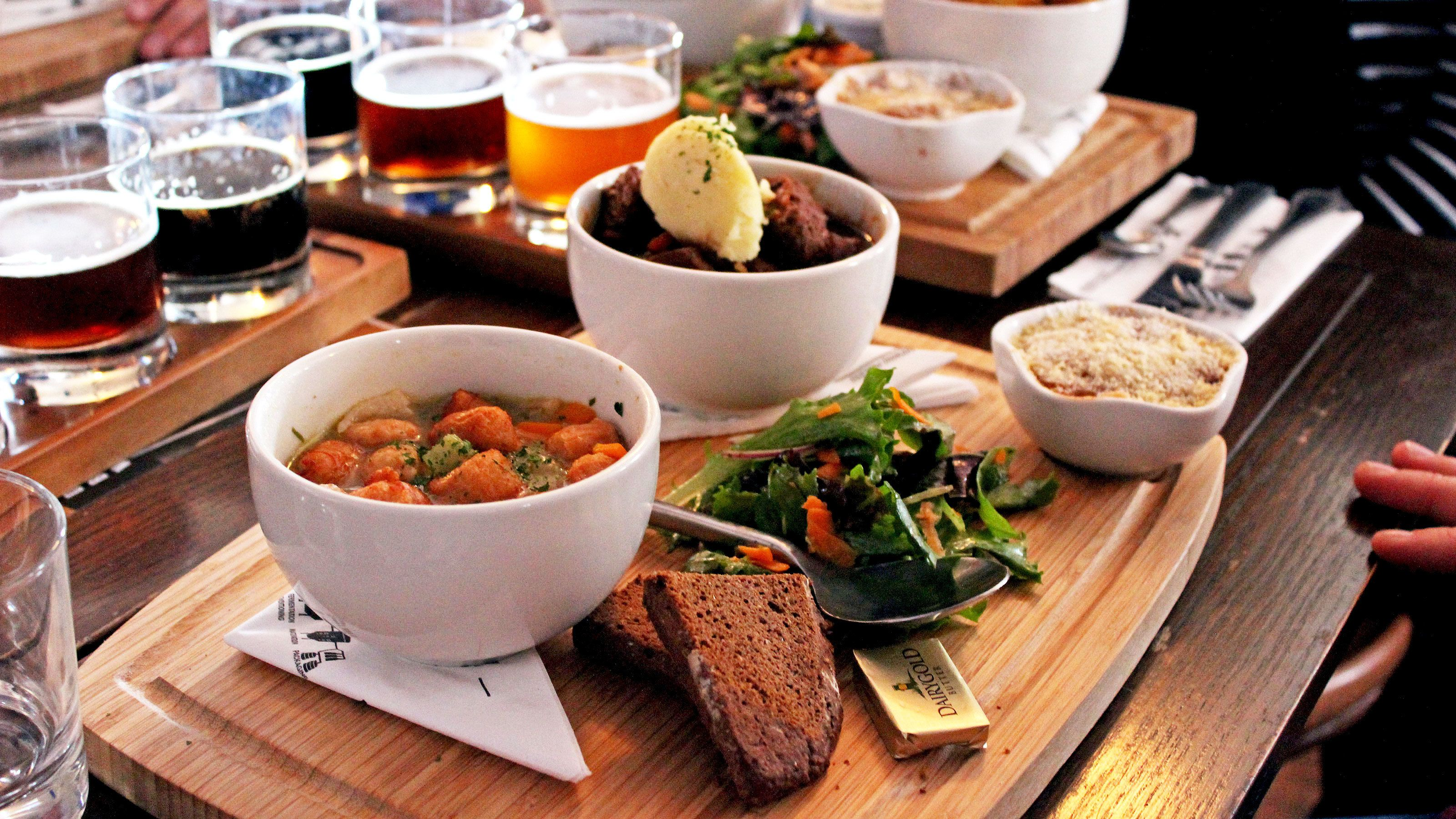 Full course meals served with beverages in Ireland