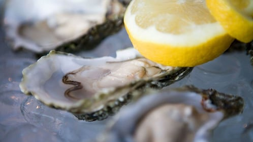 Close up of oysters during food tour in Galway