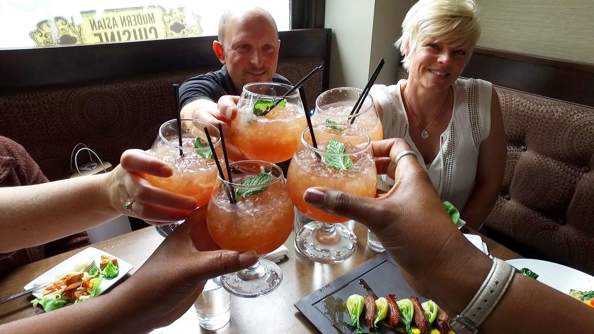 Group having drinks while on tour in Boise