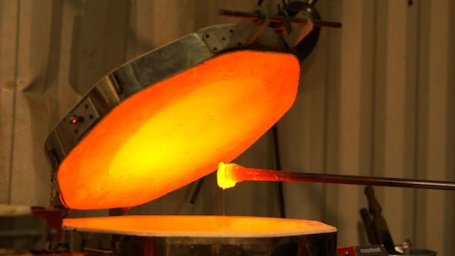 Molten glass pulled out of a kiln