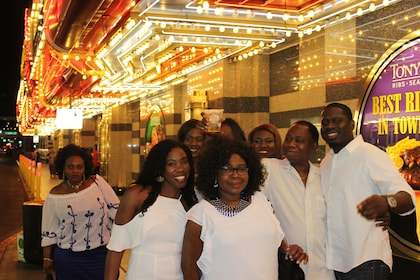 A group of tourists in Las Vegas outside a casino