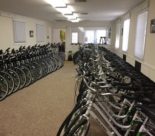 Room full of bicycles for the Weekend Self Guided Bicycle Tour in New York