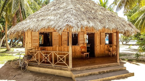 Would hut on beach in La Digue