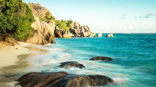View out over the ocean in La Digue