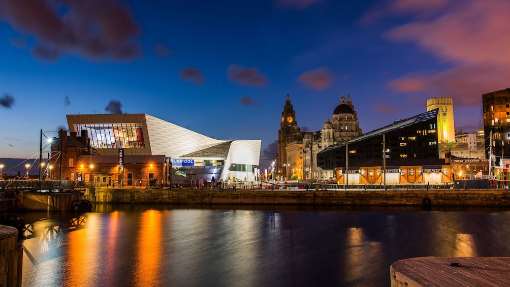 Show item 3 of 5. View of Liverpool waterfront at night