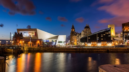 View of Liverpool waterfront at night