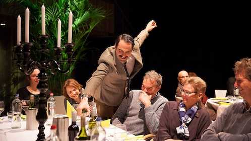 Actor interacting with audience during Faulty Towers show in London
