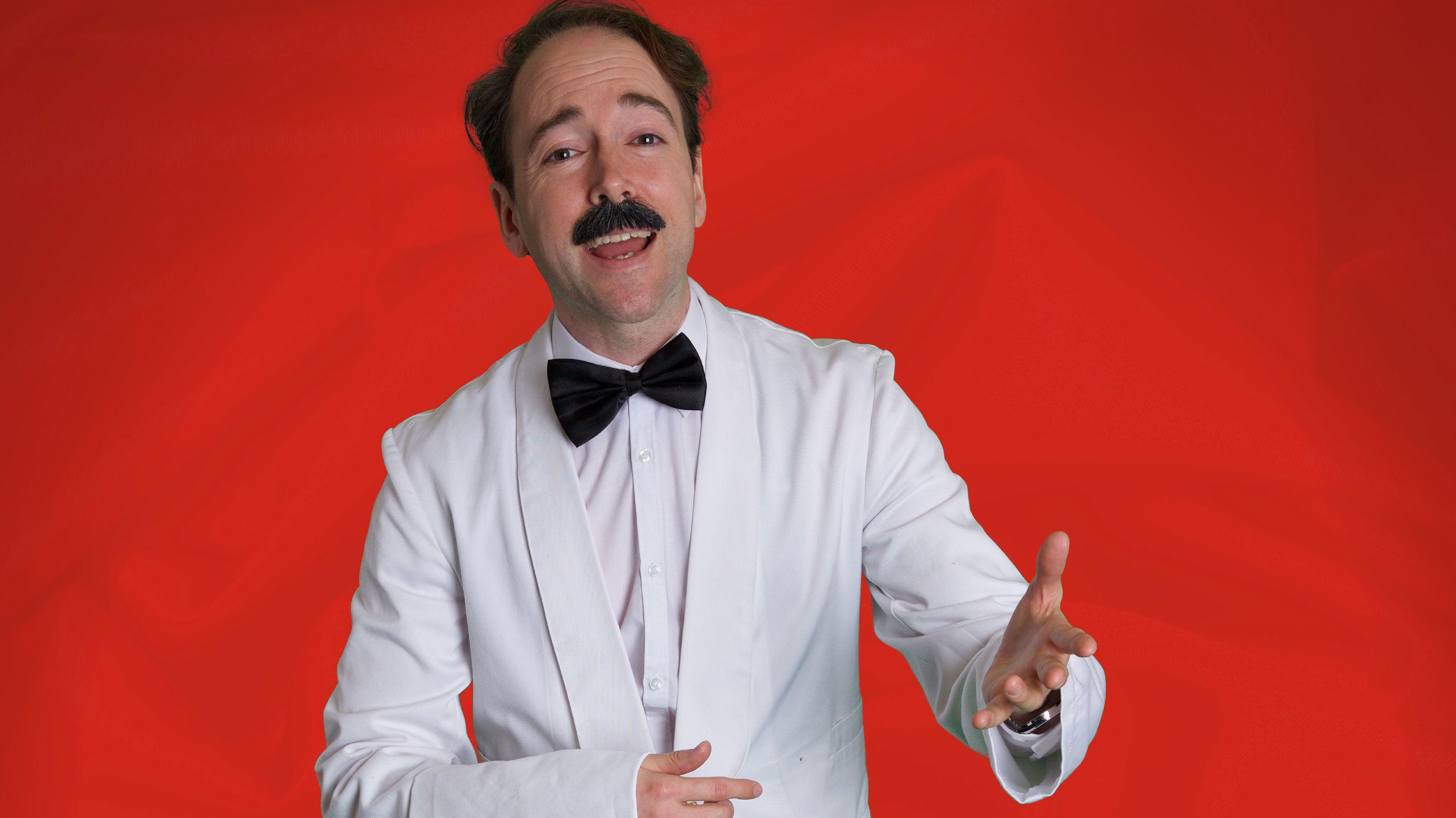 Manuel James Heatlie in costume for Faulty Towers in Edinburgh