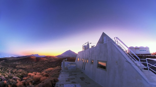 View of the Teide observatory at sunset