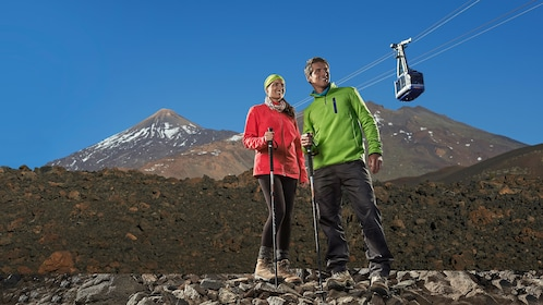 Hiking couple on Mount Teide in Tenerife