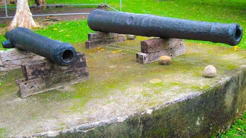 Two old cannons on a wall in