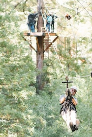 Older man ziplining in Sonoma County