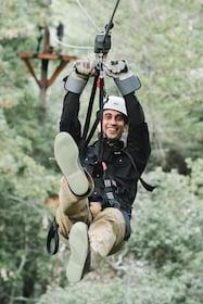 Man enjoys ziplining in Sonoma County