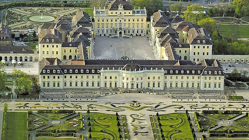 Ariel view of Ludwigsburg Palace and grounds in Frankfurt