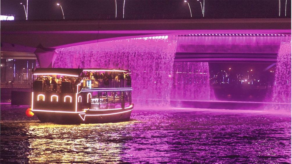 Show item 1 of 7. Dinner cruise traveling towards bridge in Dubai