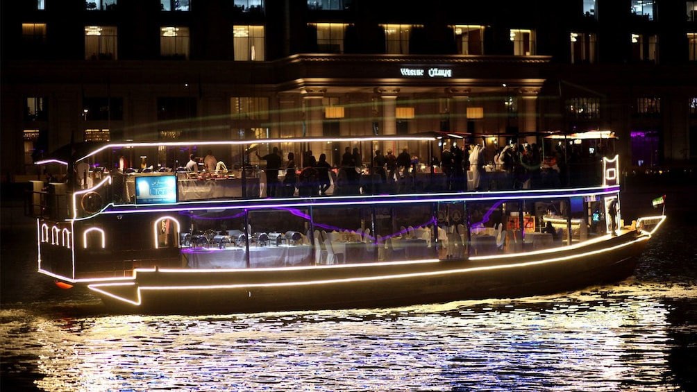 Show item 3 of 7. Dinner cruise ship with lights in Dubai