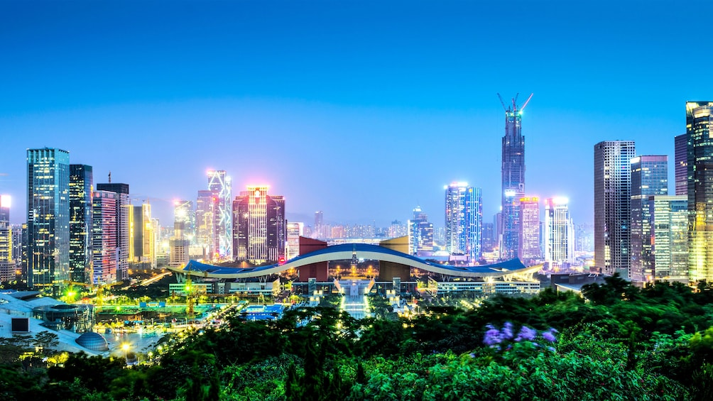 Show item 3 of 5. View of the city of Shenzhen lit up at night