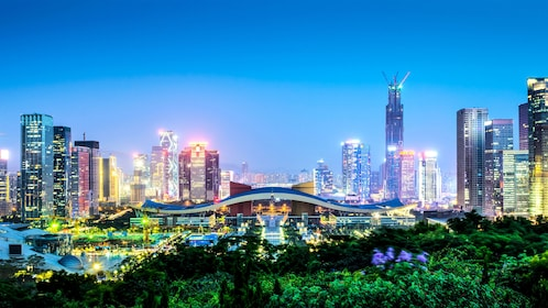 View of the city of Shenzhen lit up at night