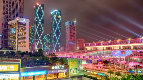Buildings shining at night in Shenzhen