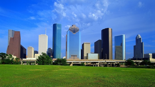 View of Houston skyline with blue skies above