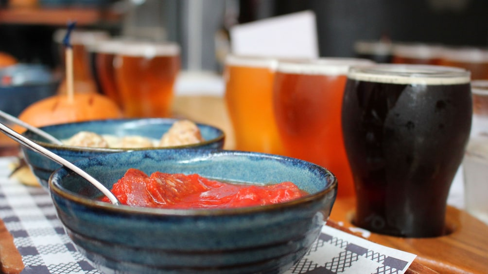 Flight of beer with meal in Sydney