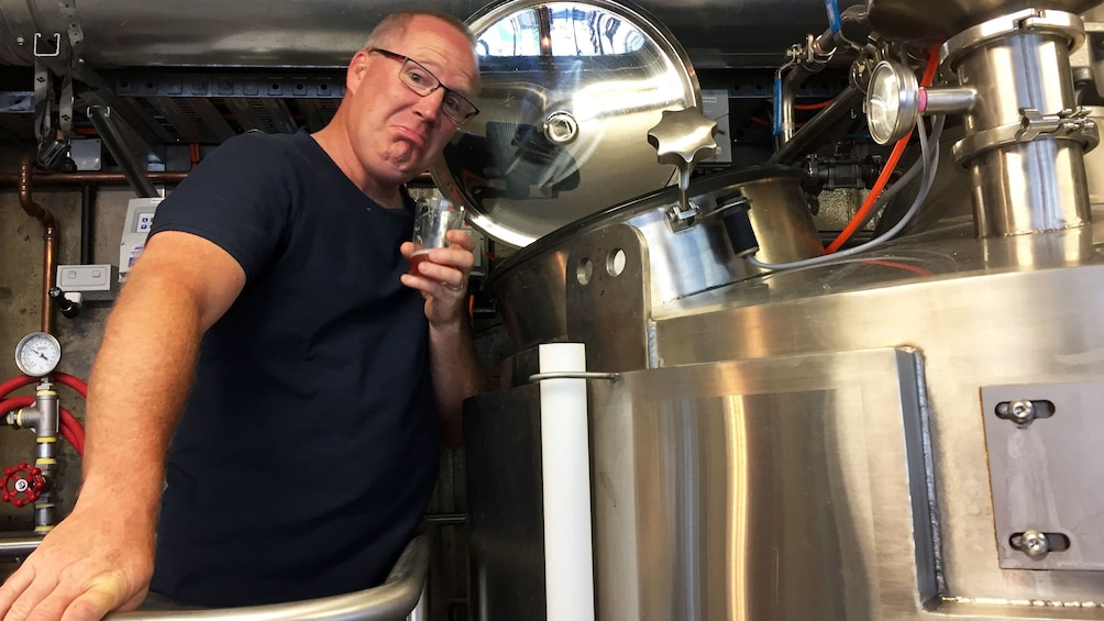 Man trying beer at brewery in Canberra