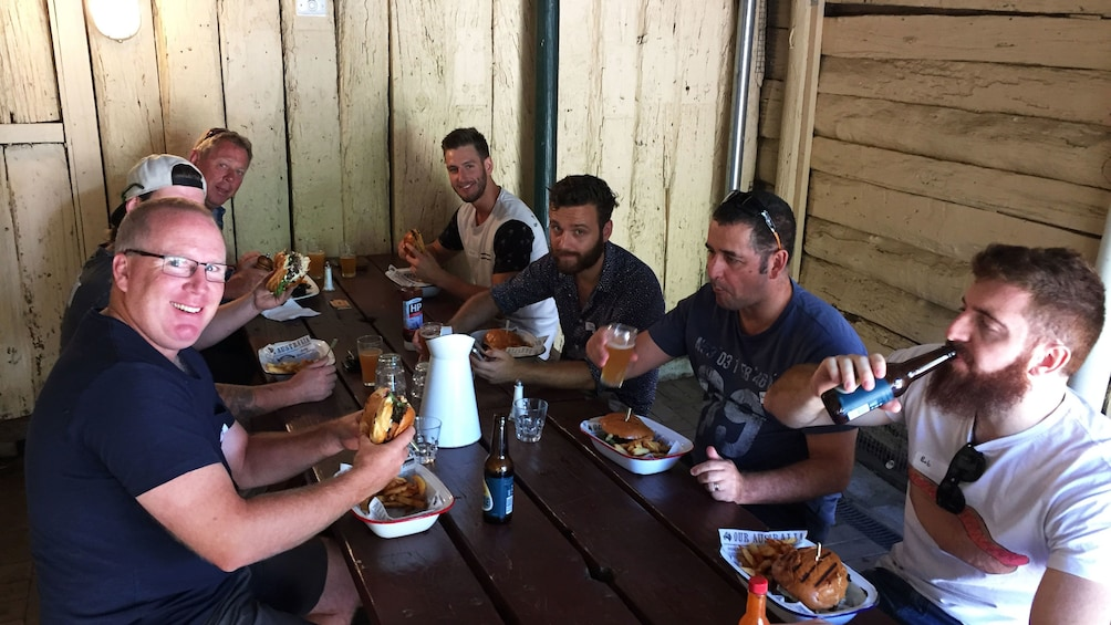 Group enjoy food and beer will exploring Canberra