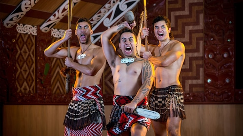 Male performers in traditional Indigenous costumes in Rotorua