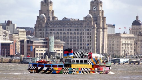 Colorful ferry boat in Liverpool