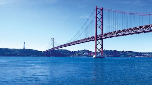 Bridge spanning over large body of water in Lisbon