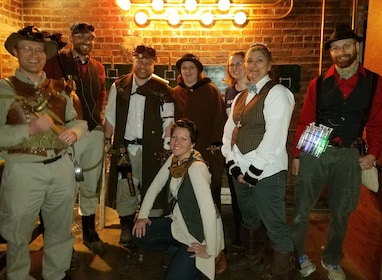 Group in vintage clothes at escape room game