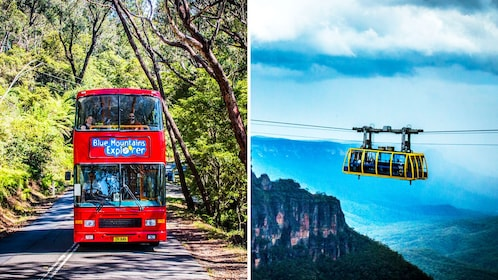 Combo image of tour bus and Skyway gondola at Blue Mountains in Australia