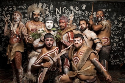 Group of people painted and dressed as Aboriginals in Australia