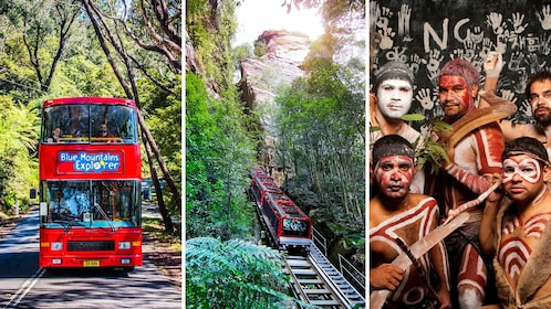 Tri-combo image of attractions in activity in Blue Mountains in Australia