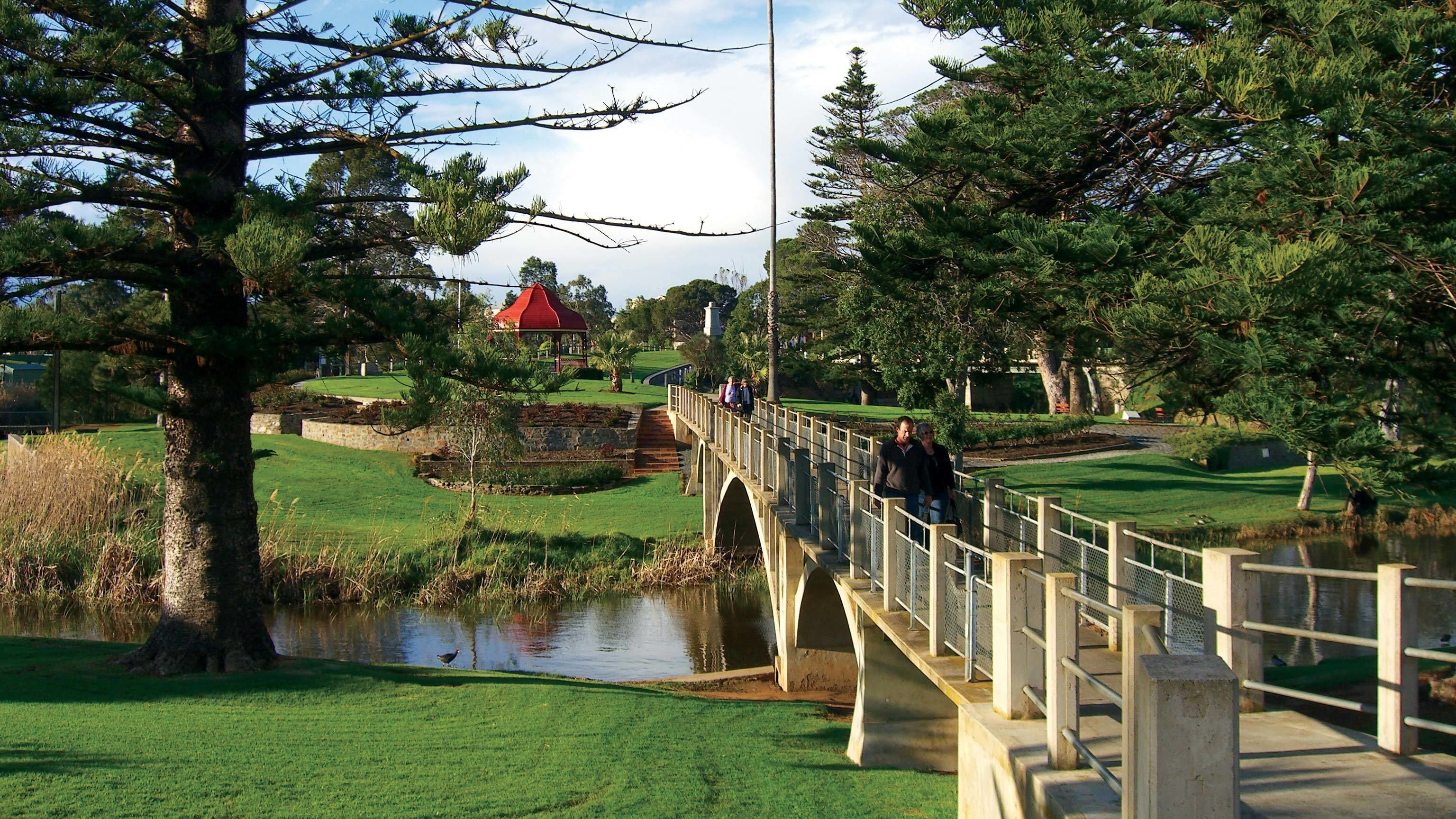 A bridge and gazebo at a park in Victor Harbor