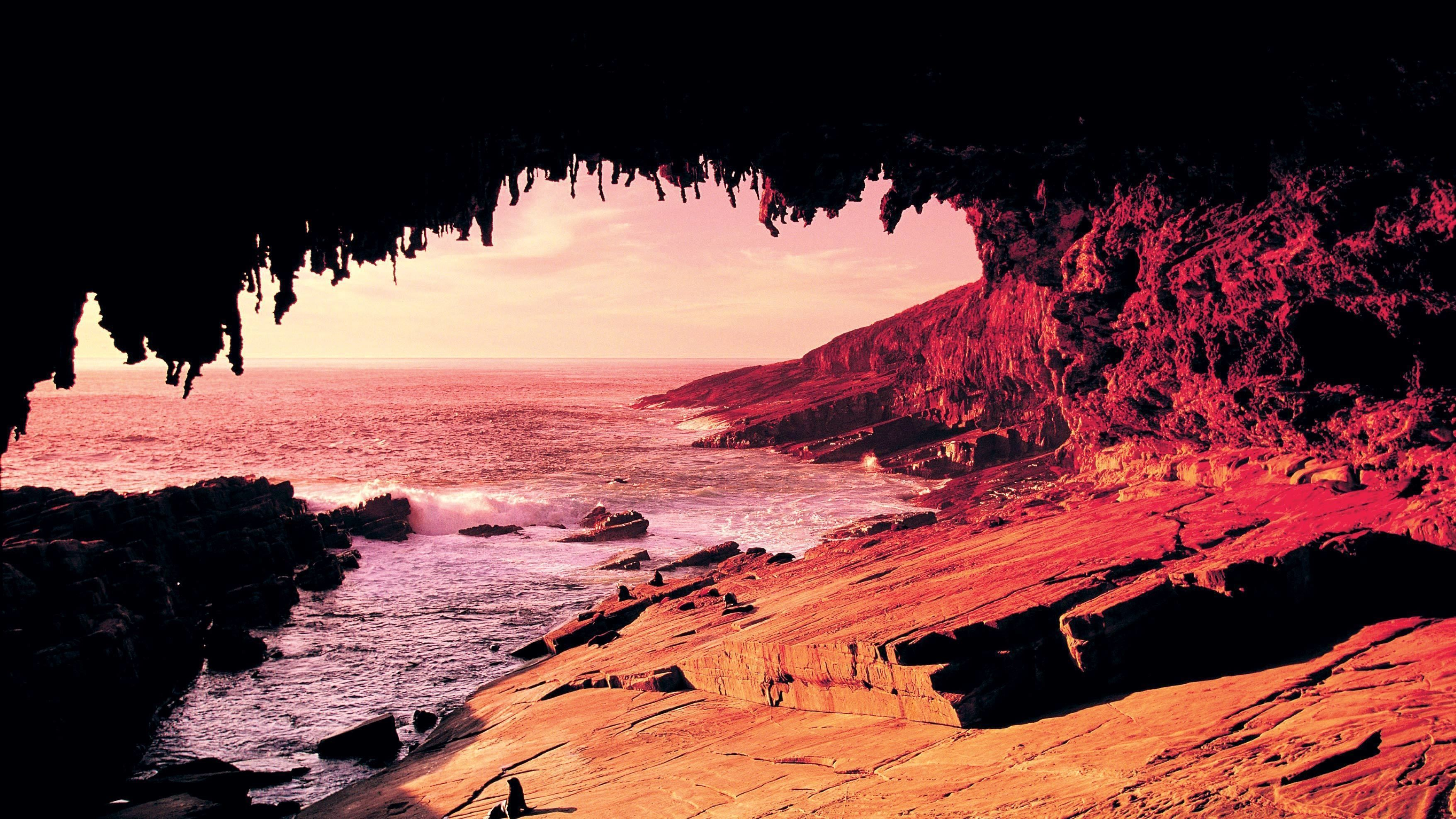 View of the coast of Kangaroo island from a cave at sunset