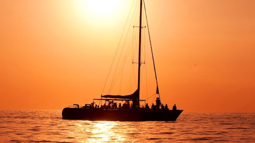 Catamaran in the Caribbean at Sunset