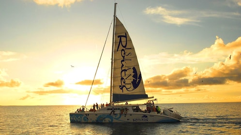Catamaran sails in the Caribbean at sunset