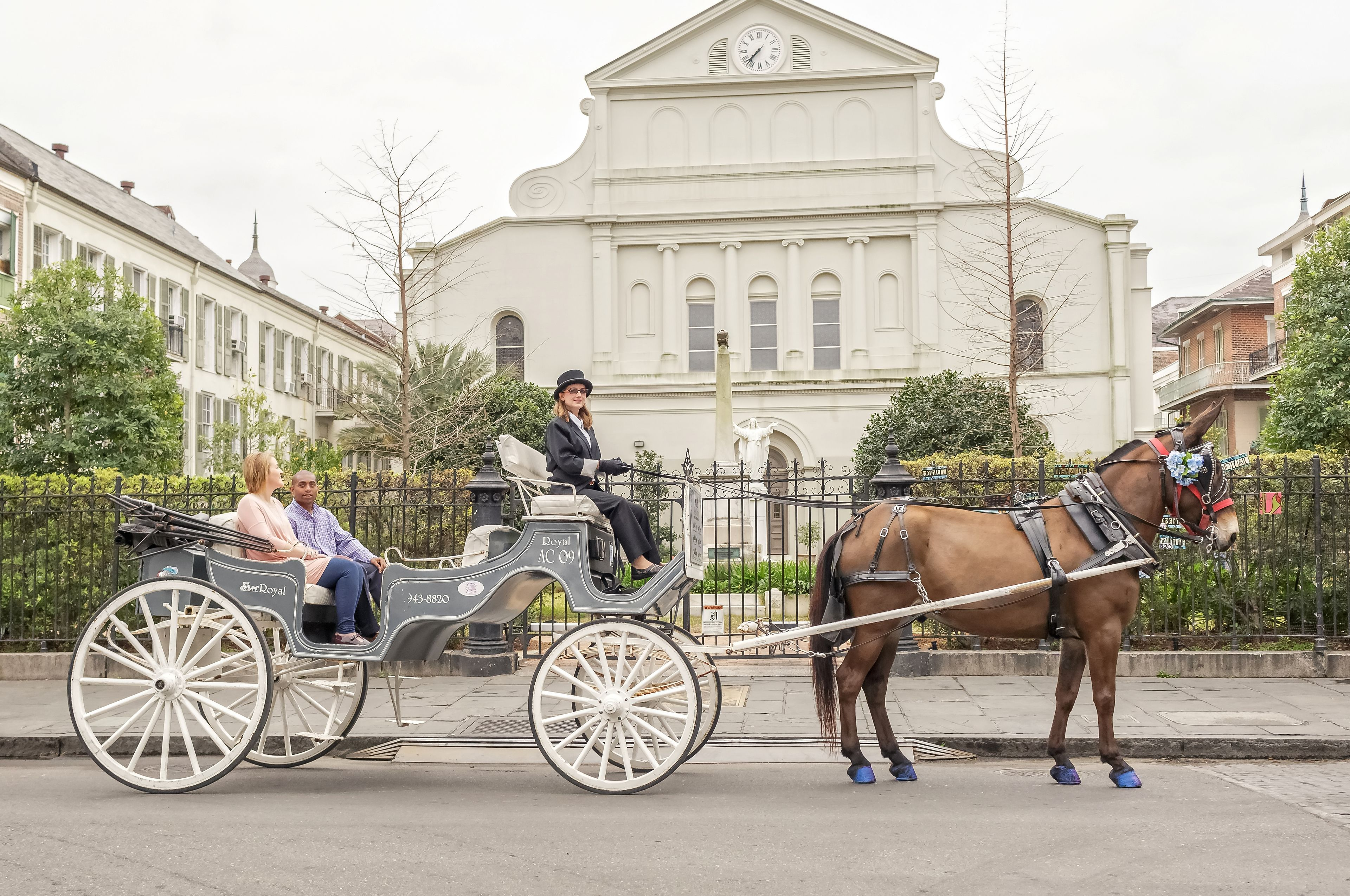 Couple in a horse-drawn carriage in front of historic building in French Quarter of New Orleans