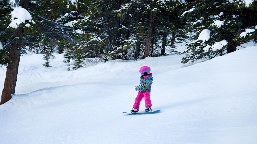 Show item 4 of 4. Little girl learning to snowboard in Mammoth Lakes, California