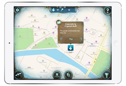 Map of a Scavenger hunt on a tablet
