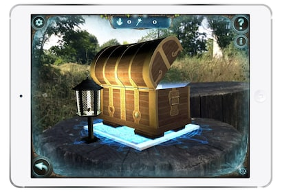 An open treasure chest in a scavenger hunt game on a smart phone screen