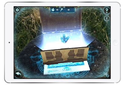 A game on a tablet with a treasure chest
