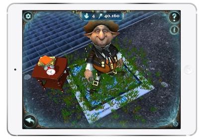 A scavenger hunt game on a tablet