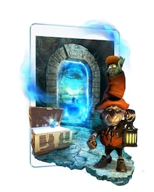 A troll with a lantern next to a treasure chest in a promotional image for a tablet scavenger hunt game