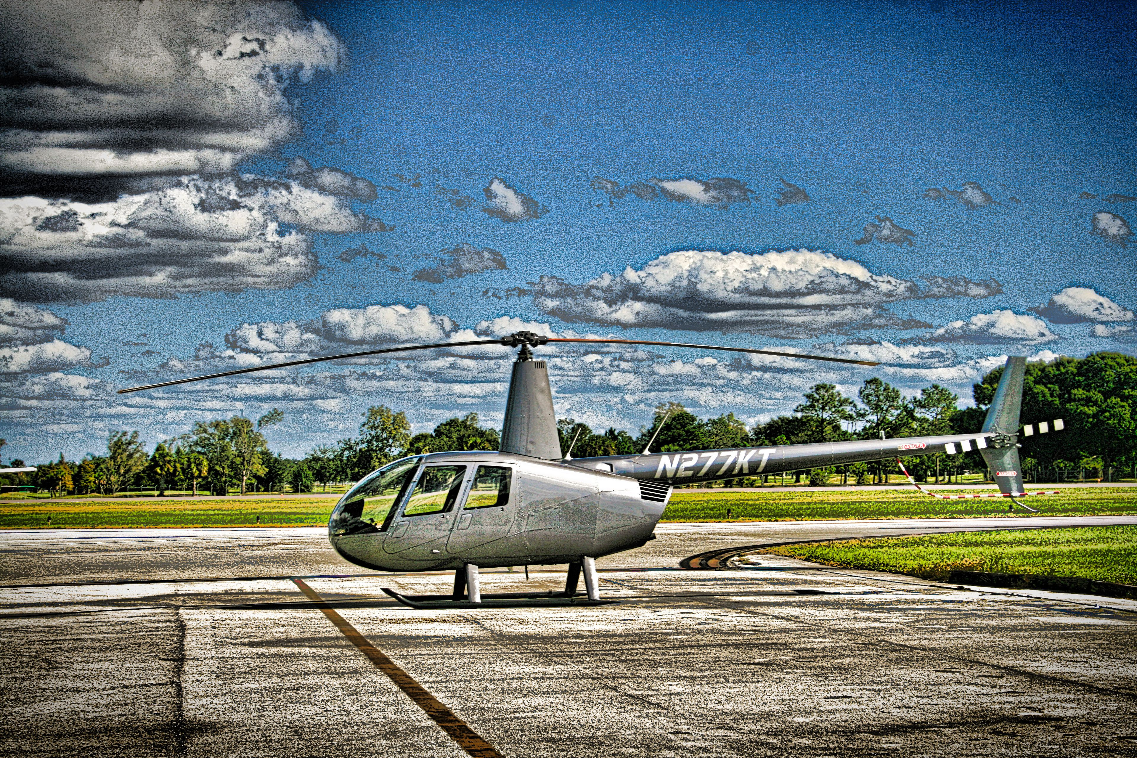 Helicopter on landing pad in Kissimmee, Florida