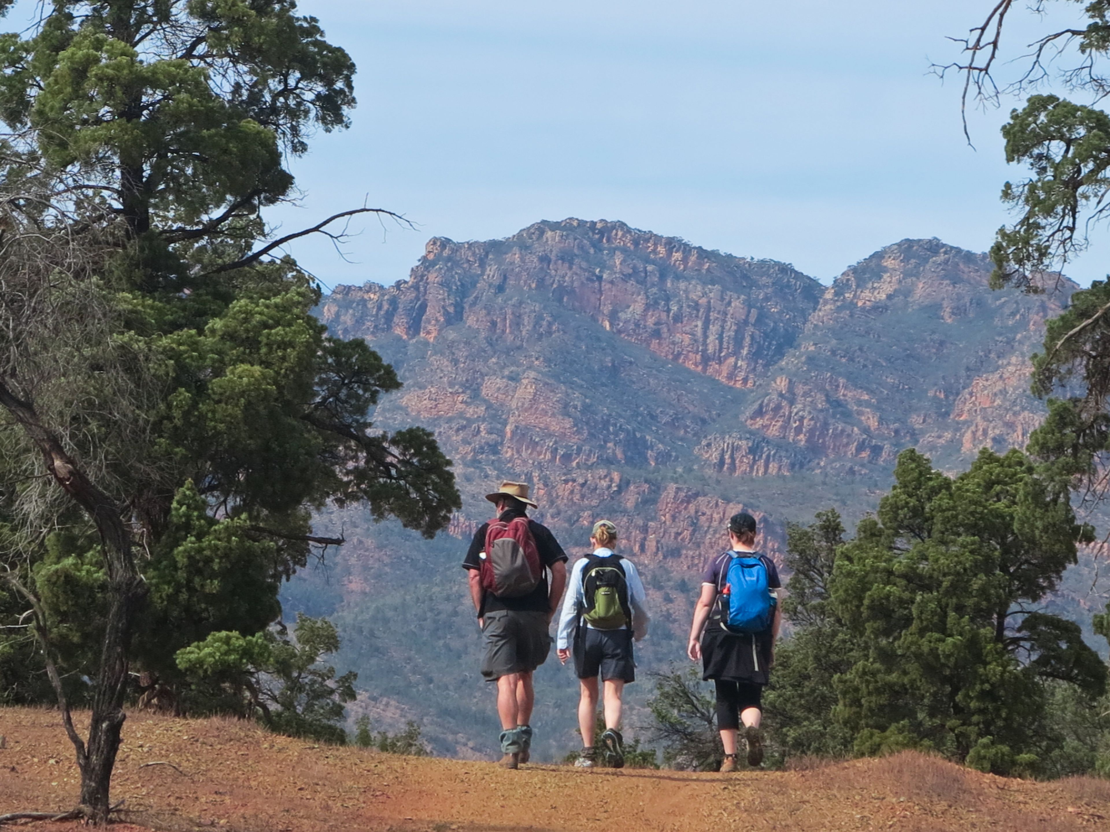 Hiking group in the mountains in Australia
