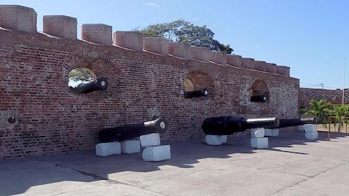 Cannons and brick wall at Port Royal