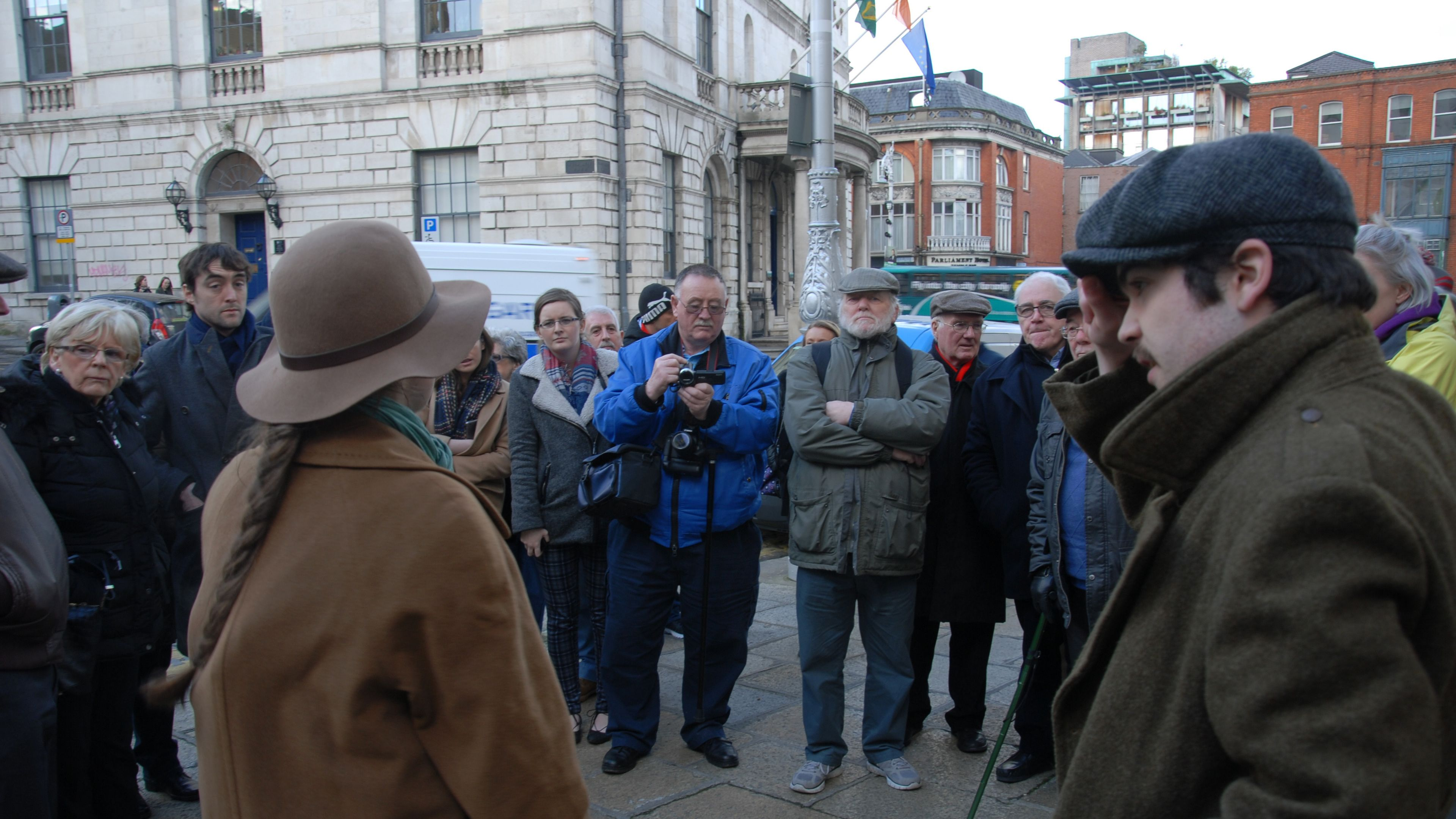 Guided tour group in Dublin